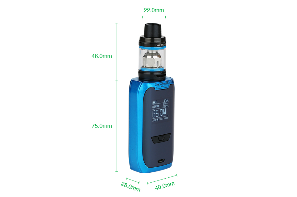Product Introduction The Vaporesso Revenger Mini is a new member of the Revenger series with unique lighting pattern. The compact Revenger Mini has a built-in 2500mAh battery with max 85W output power. Powered by the latest OMNI 2.2 board, it offers a variety vaping modes with a user-friendly UI. It also supports max 2.5A fast charging. And the NRG SE tank adopts slide-n-fill design, adjustable bottom airflow and interchangeable GT cores. User will enjoy a great flavor and vapor production. 5 colors. Vaporesso Revenger Mini 85W with NRG SE TC Kit 2500mAh Parameters Revenger Mini MOD Dimensions: 40 x75 x 28mm Display: OLED 0.96 inch Wattage Range: 5 - 85W Temperature Control Range: 100℃-315℃/200F-600F Mode: VW(H/N/S)/CCW/CCT/VT(Ni/Ti/SS)/TCR(M1/M2)/RTC/BYPASS Battery: built-in 2500mAh Thread: 510 thread Color: Black, Blue, Red, Silver NRG SE Tank / SE Mini Tank Size: 22 x 48.5mm / 22 x 46mm (TPD edition) Capacity: 3.5ml /2ml (TPD edition) Material: Stainless steel Thread: 510 Vaporesso Revenger Mini 85W with NRG SE TC Kit 2500mAh Unique lighting pattern Revolutionary IML design OMINI board 2.2 2.5A quick charging Compact design with 2500mAh battery Slide and fill design Smooth adjustable bottom airflow A variety of interchangeable GT cores Vaporesso Revenger Mini 85W with NRG SE TC Kit 2500mAh It comes with 1x Revenger Mini MOD 1x NRG SE Tank / NRG SE Mini Tank (TPD Edition) 1x GT4 Core (pre-installed) 1x GT CCELL 1x USB cable 1x Replacement glass tube 1x Manual Simple packing. Customary Packing from the factory, the packing is subject to change without notice. Vaporesso Revenger Mini 85W with NRG SE TC Kit 2500mAh You can select the e-juice here. You also can buy Revenger Mini MOD, NRG SE tank and GT Coil/GT8 core in HG. You can download CE, RoHS certificates and other reports. You can download TPD certificates. Vaporesso Revenger Mini 85W with NRG SE TC Kit 2500mAh